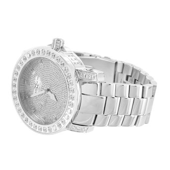 White Gold Finish Watch Mens Khronos Metal No Stone Band Steel Back Water Resist