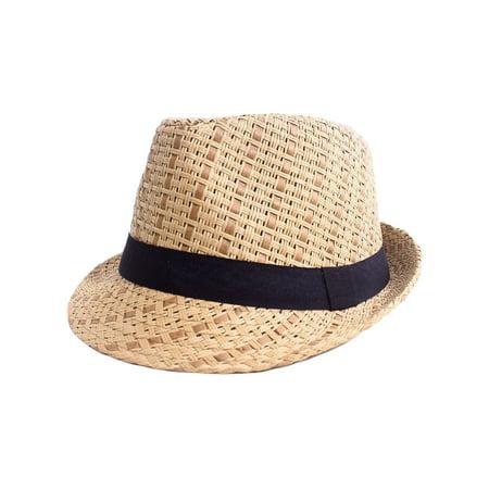 Happy Summer Straw Hat (Men / Women's Summer Vintage Straw Fedora Hat 745_Brown Small/Medium )