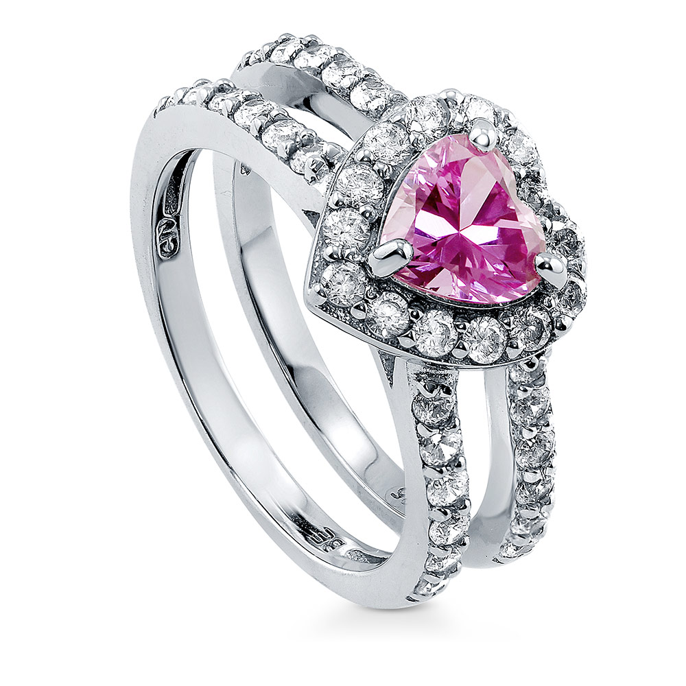 BERRICLE Rhodium Plated Silver Heart Shaped Pink Cubic Zirconia CZ Halo Engagement Ring Size 4