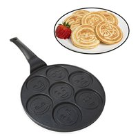 Emoji Smiley Face Pancake Pan - Non-stick Pan Cake Griddle with 7 Unique Flapjack Faces