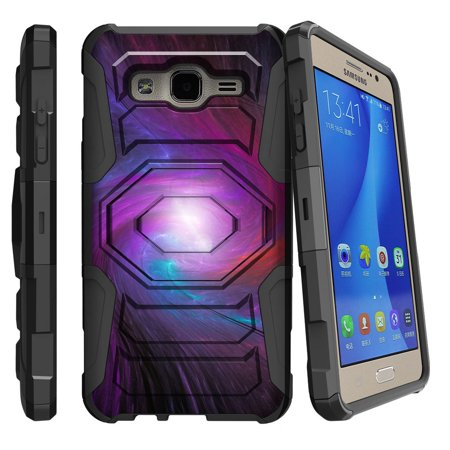 Samsung Galaxy On5 Case | Galaxy On5 Phone Case [ Armor Reloaded ] Extreme Rugged Cell Phone Cover with Kickstand and Belt Clip - Purple Galaxy - Purple Swirl