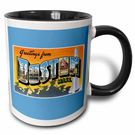 3dRose Greetings from Boston Mass. Scenic Postcard Reproduction - Two Tone Black Mug, 11-ounce ()