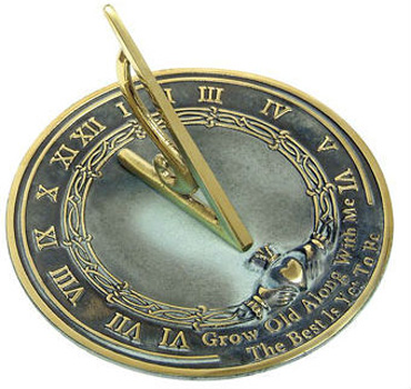 Rome Rome Brass Grow Old With Me Sundial Solid Brass Verdigris by