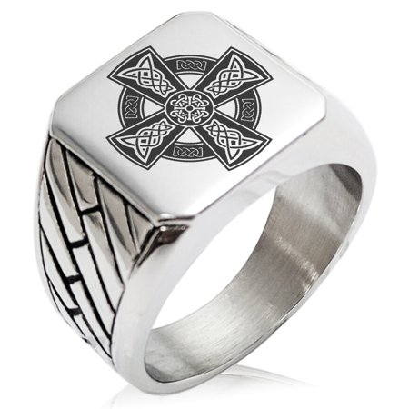 Stainless Steel Celtic Cross Rune Knot Geometric Pattern Biker Style Polished Ring