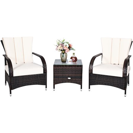 Costway 3PCS Rattan Furniture Set Chair Coffee Table Conversation Set W/White Cushion - image 3 of 10