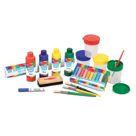 Melissa & Doug Easel Accessory Set, Paint, Cups, Brushes, Chalk, Paper, Dry-Erase Marker
