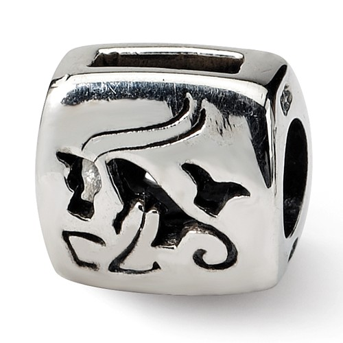 Sterling Silver Reflections Capricorn Zodiac Antiqued Bead