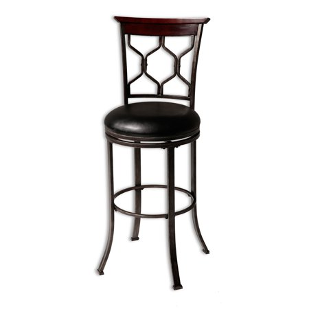 Metal Black Counter Stools - Tallahassee Swivel Seat Counter Stool with Heritage Silver Finished Metal Frame and Black Faux Leather Upholstery, 26-Inch Seat Height