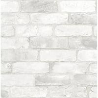 NuWallpaper Loft White Brick Raised Ink Peel & Stick Wallpaper