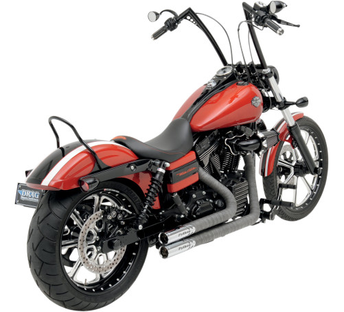 Python Throwback Exhaust Gray/Chrome Fits 86-11 Harley-Davidson FXSTC Softail Custom