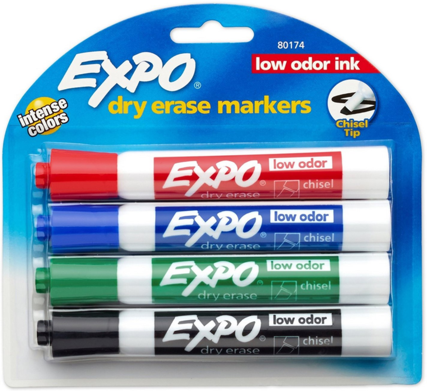 EXPO Low Odor Dry Erase Markers, Chisel Tip, Assorted Colors, 4 Pack