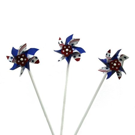 Lot Of 12 Patriotic American Flag Theme Pinwheel Wind Spinners -