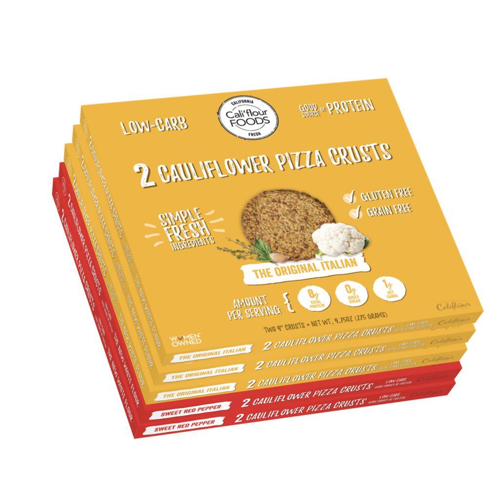 Cali'flour Foods Gluten Free, Low Carb Cauliflower Pizza Crusts - 6 Original Italian crusts and 4 Sweet Red Pepper - 5 Boxes - (10 Total Crusts, 2 Per Box)
