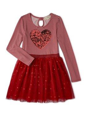 Btween Girls' 4-8 Valentine's Day Long Sleeve Sequin Heart Tutu Dress