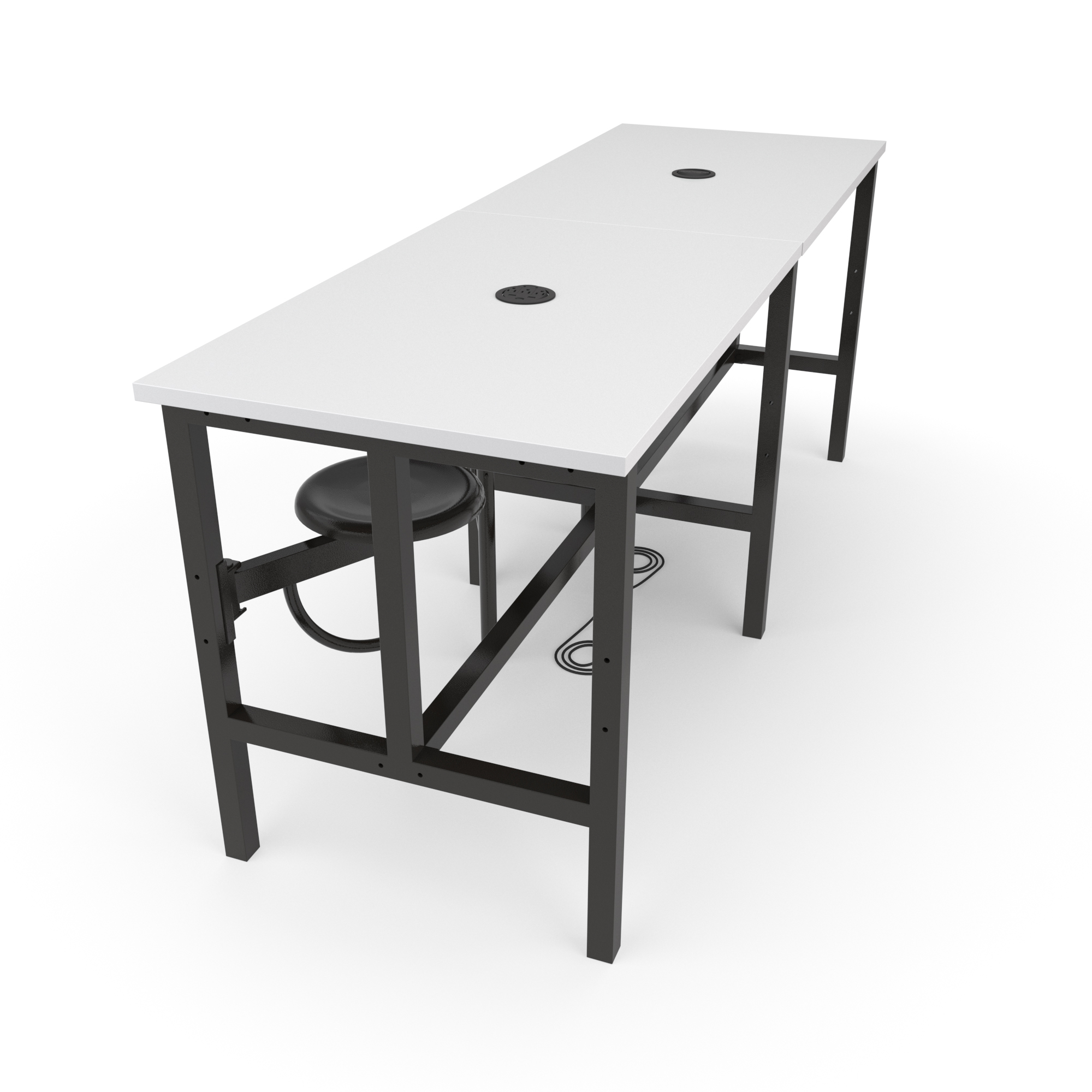 OFM Endure Series Model 9008-4S Standing Height 4 Seat Table, White Dry-Erase Top with Dark Vein Seats