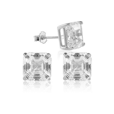 Asscher Cut 10x10mm White Cubic Zirconia Basket Setting Rhodium Plated Stud Earrings Asscher Inspired Channel Setting
