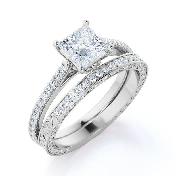 Jeenmata 1 25 Ct Princess Cut Diamond Pave Band Simple Antique Engagement Ring Set 10k White Gold Walmart Com Walmart Com