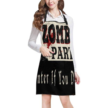 ASHLEIGH Zombie Party Vintage Rusty Metal Sign Halloween Theme Kitchen Apron Mens and Womens Bib Apron Adjustable with Pockets for Cooking Baking Gardening](Halloween Themed Cooking Ideas)