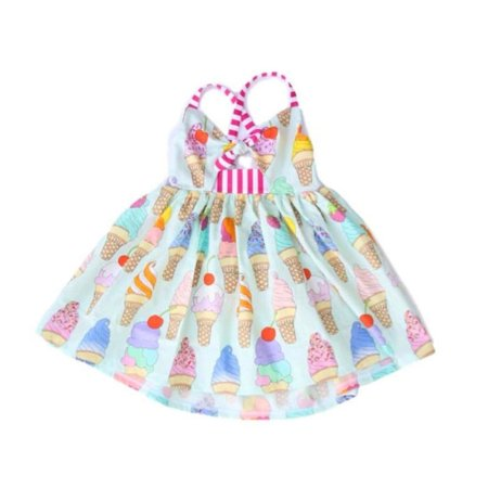 Toddler Kids Girls Strap Sleeveless Dress Sundress Summer Ice cream Bow Clothes