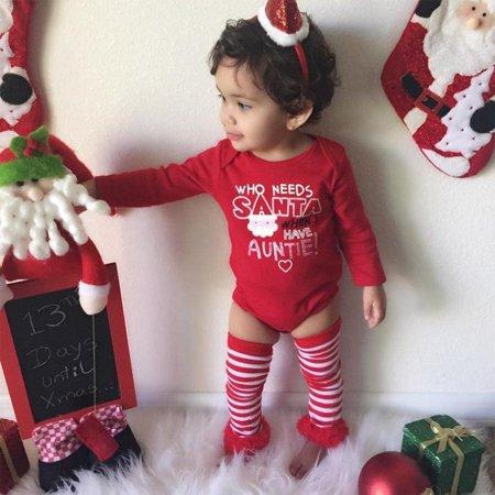 Pretty Newborn Baby Girls Red Romper Socks Christmas 2pcs Outfits Set Costume UK