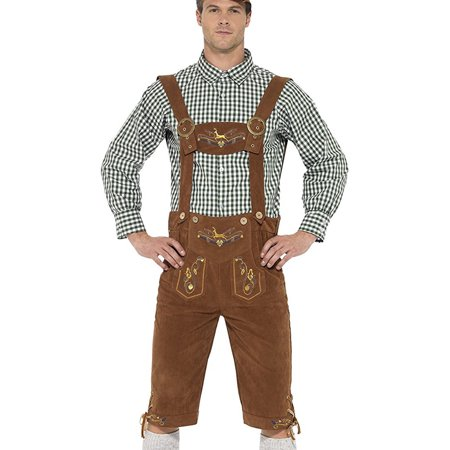 Mens Barbarian Costume (Adult's Mens Deluxe Traditional Hanz Oktoberfest Bavarian Lederhosen)