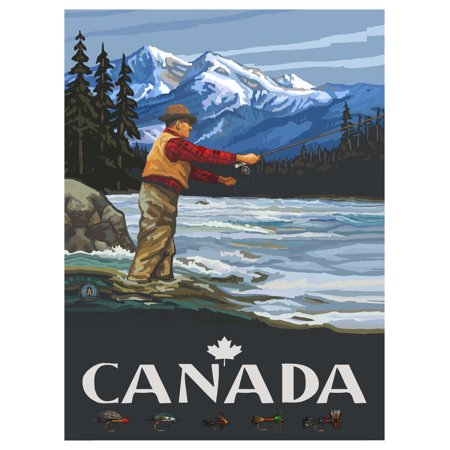 Canada Fly Fisherman Stream Mountains Travel Art Print Poster by Paul A. Lanquist (9