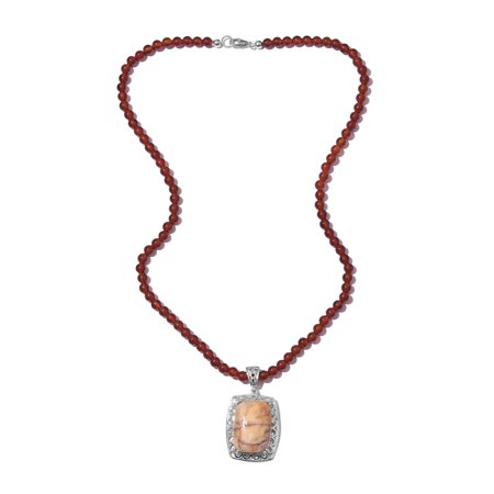 Venus Jasper Platinum Pendant with Red Quartzite Beads Necklace for Women 20""