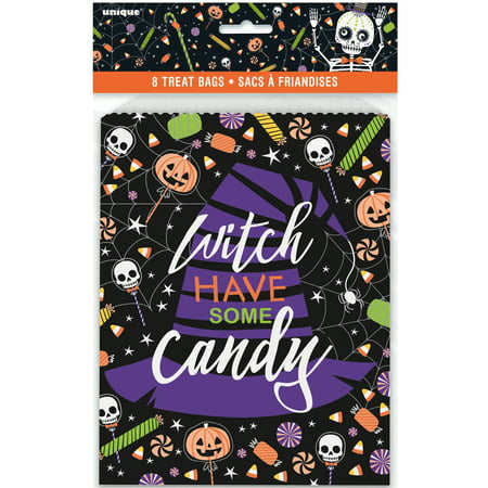Paper Skeleton Trick or Treat Halloween Favor Bags, 8.75 x 6.5 in, - Easy Party Halloween Treats
