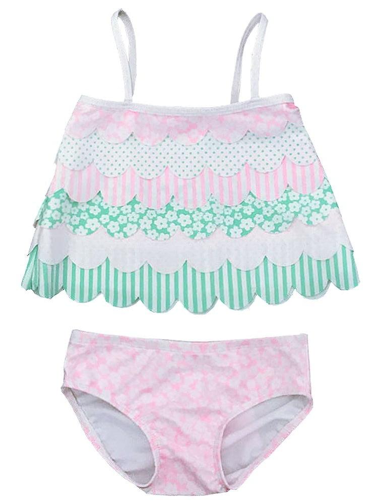 Kate Mack Little Girls Multi Color Scalloped Edge 2 Pc Tankini Swimsuit
