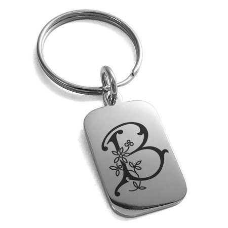 Stainless Steel Letter B Initial Floral Monogram Engraved Small Rectangle Dog Tag Charm Keychain Keyring ()