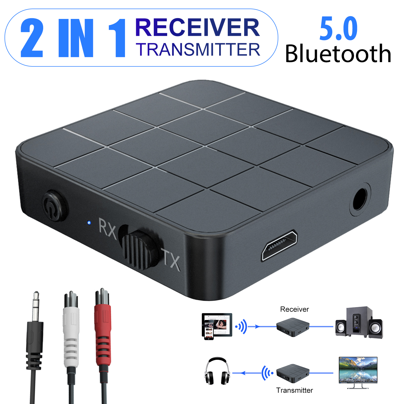 Bluetooth 5 0 Transmitter Receiver For Car Eeekit Low Latency Rechargeable Wireless 3 5mm Audio Adapter Bluetooth Range Extender Repeater For Tv Pc Car Home Stereo Walmart Com Walmart Com