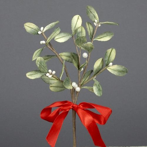 """10.5"""" Artificial Mistletoe Christmas Pick with Red Satin Bow and White Pearl Beads"""
