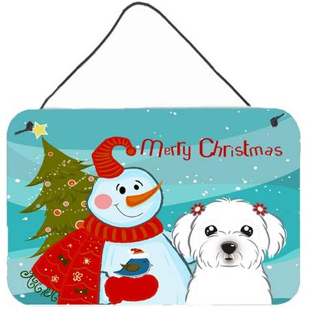 Carolines Treasures BB1828DS812 Snowman With Maltese Wall and Door Hanging Prints - image 1 of 1