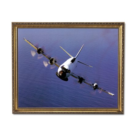 Navy Art Glass Frame - EP-3E Aries Navy Jet Airplane Wall Picture Gold Framed Art Print
