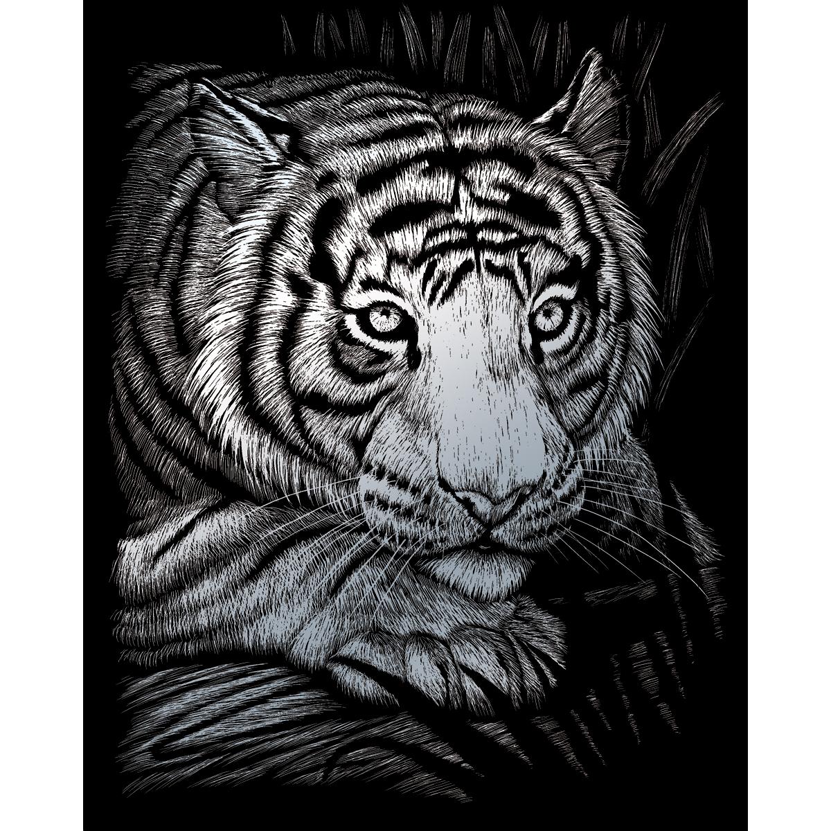 """Silver Foil Engraving Art Kit 8""""X10""""-White Tiger"""