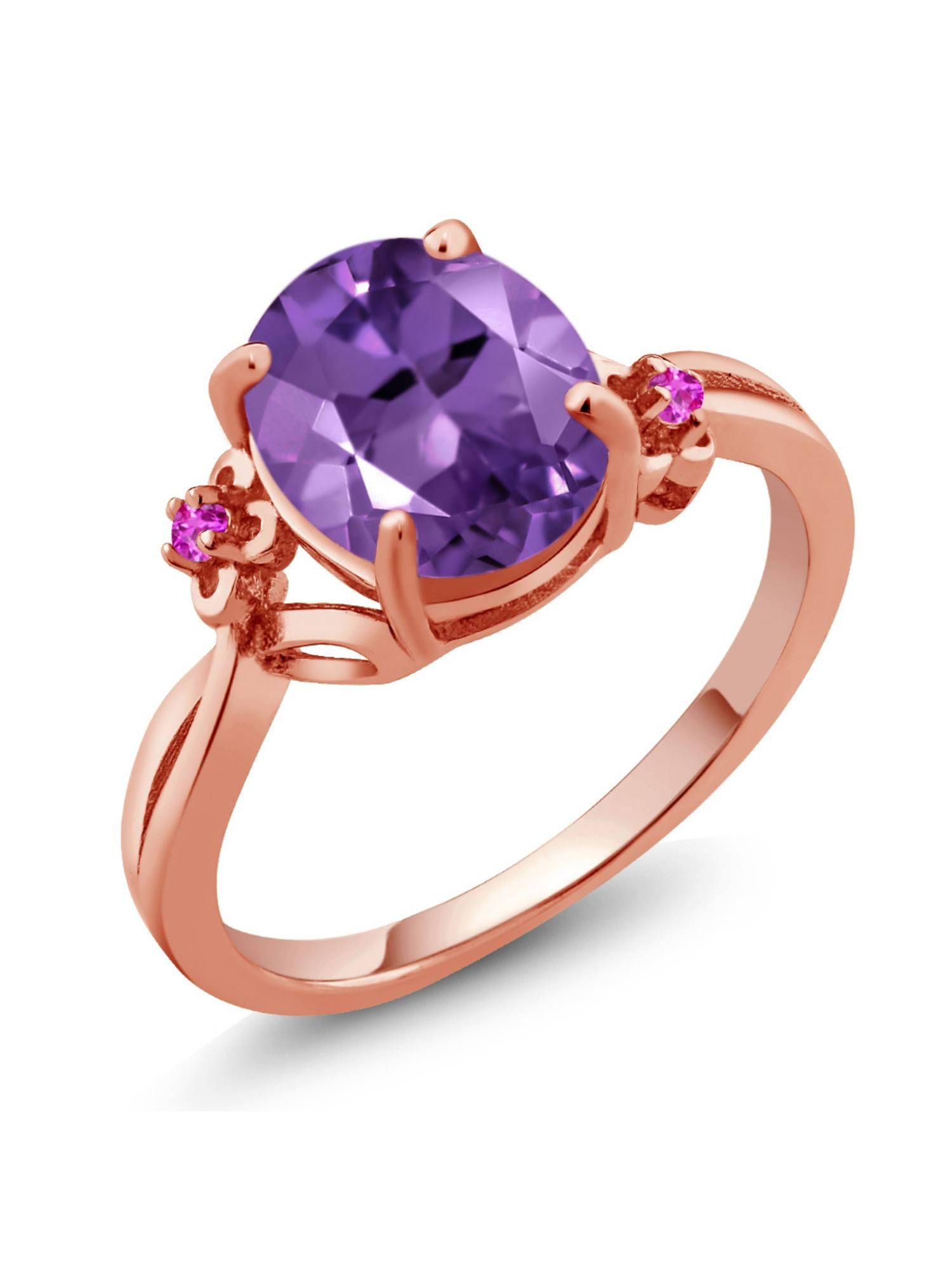2.24 Ct Oval Purple Amethyst Pink Sapphire 18K Rose Gold Plated Silver Ring by