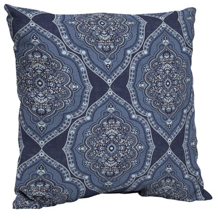Better Homes & Gardens (933) Blue Medallion 21 x 21 in. Outdoor Dining Pillow Back Cushion with EnviroGuard