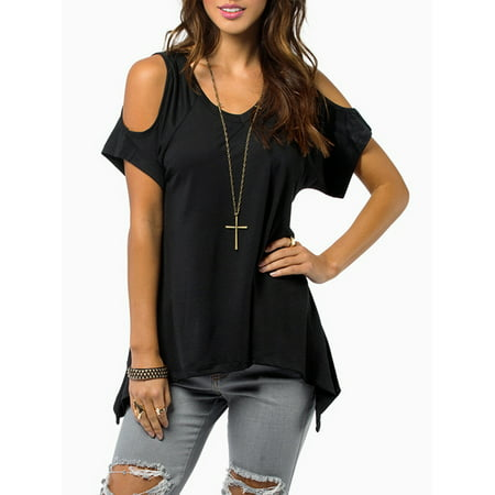 Summer Weight (A Blues Man Cold Shoulder Cotton Summer T-Shirts for Women, Vogue Shoulder Off Wide Hem Summer Blouses for Women, Black Lightweight T-Shirts Summer Tops for Women,(S2873BM, Asian)