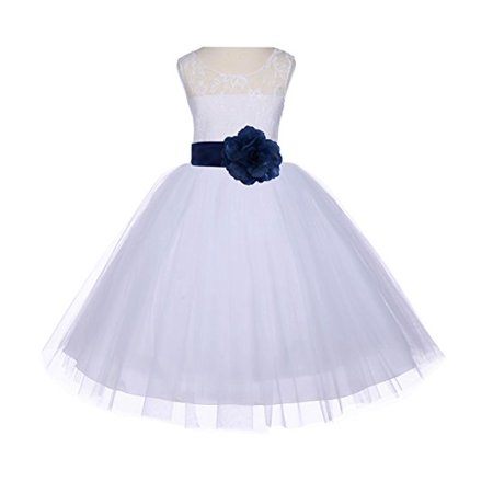 Ekidsbridal White Floral Lace Bodice Tulle Flower Girl Dresses Wedding Pageant Formal Special Occasion Dresses First Communion Holy Baptism Junior Toddler Recital Reception Ball Gown 153S](Girls Holy Communion Dresses)