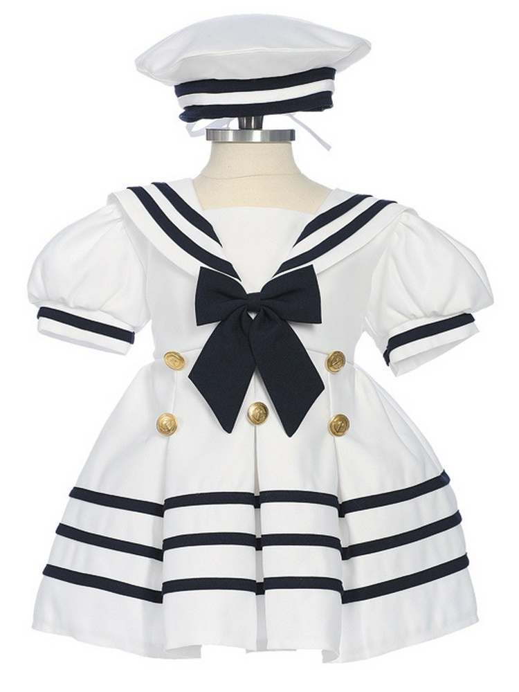 Baby Girls White Navy Bow Dress Hat Sailor Outfit 3-24M