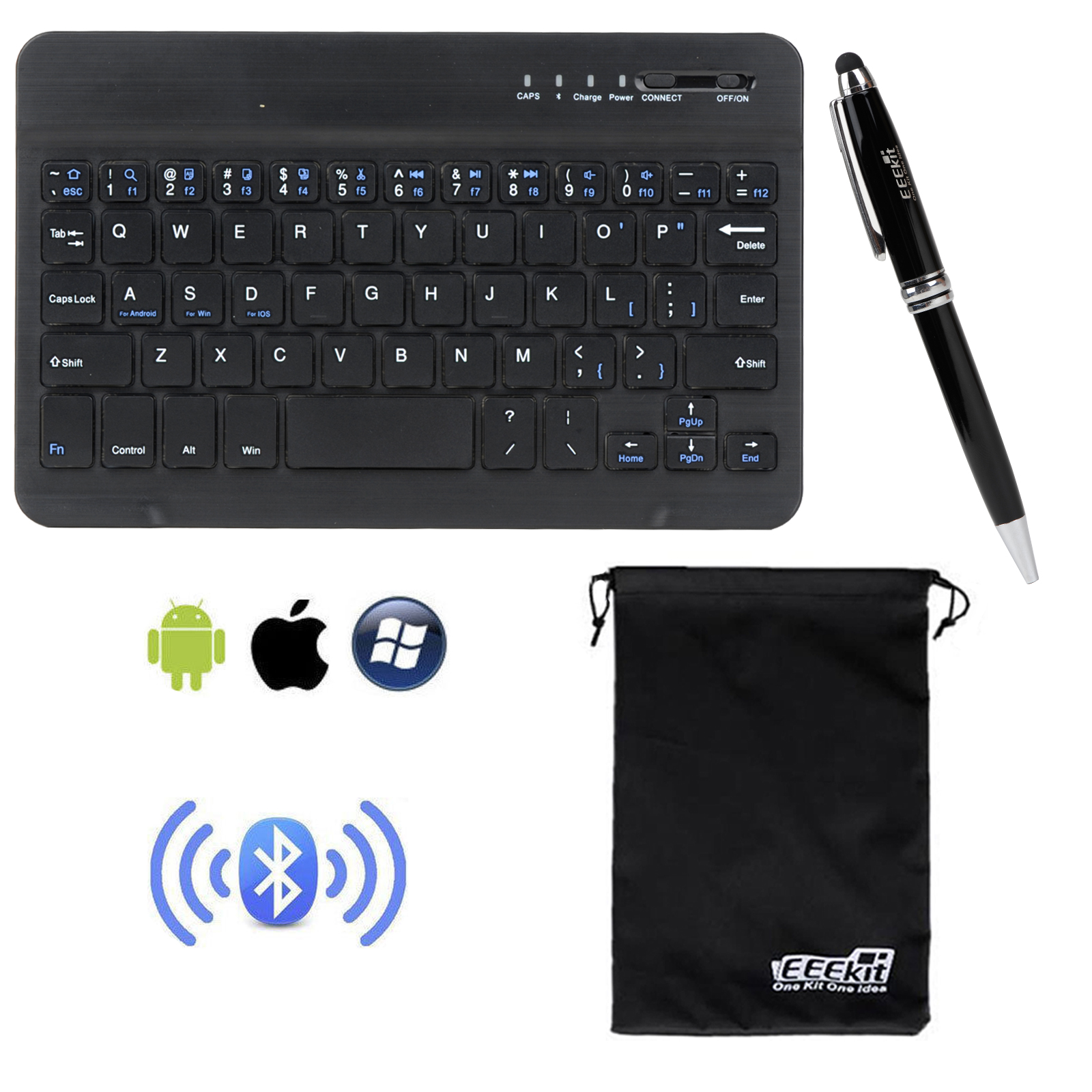 EEEKit Wireless Bluetooth Keyboard & Stylus for Universal 8 inch Tablet,Samsung LG G Pad iPad RCA Nextbook