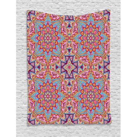 Purple Mandala Tapestry, Arabesque Hippie Style Authentic Eastern in Moroccan Vivid Tones Artsy Motif, Wall Hanging for Bedroom Living Room Dorm Decor, 40W X 60L Inches, Multicolor, by Ambesonne