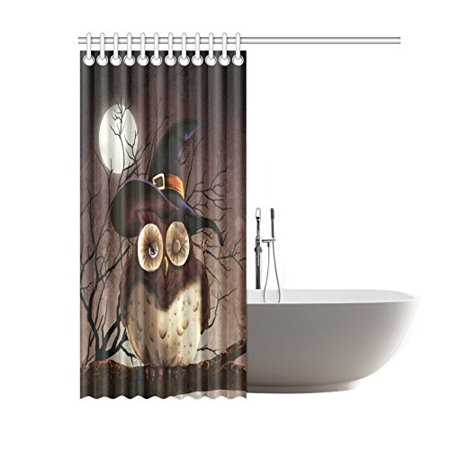 RYLABLUE Cute Branch Owl with Witch Hat Shower Curtain, Full Moon Night Polyester Fabric Shower Curtain Bathroom Sets with Hooks 60x72 Inches - image 2 de 3