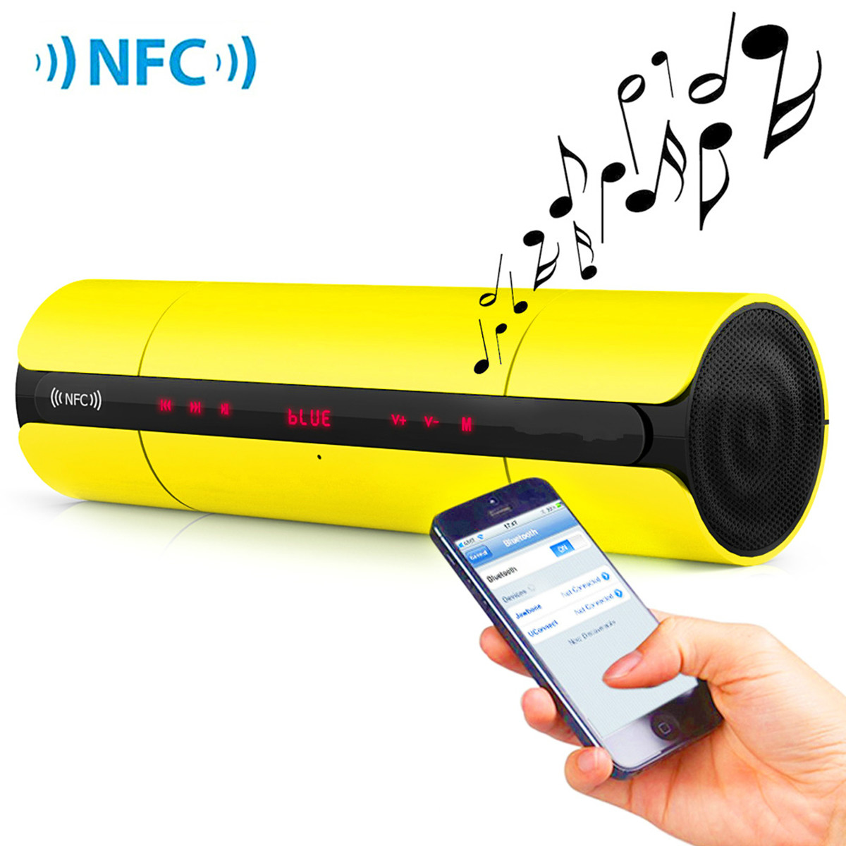 Bluetooth Wireless speaker, NFC Subwoofer Waterproof Wireless Bluetooth Speakers Outdoor Sport HIFI Column Speaker Subwoofer Sound Bar Box Support FM Radio TF Mp3 Player(Yellow)