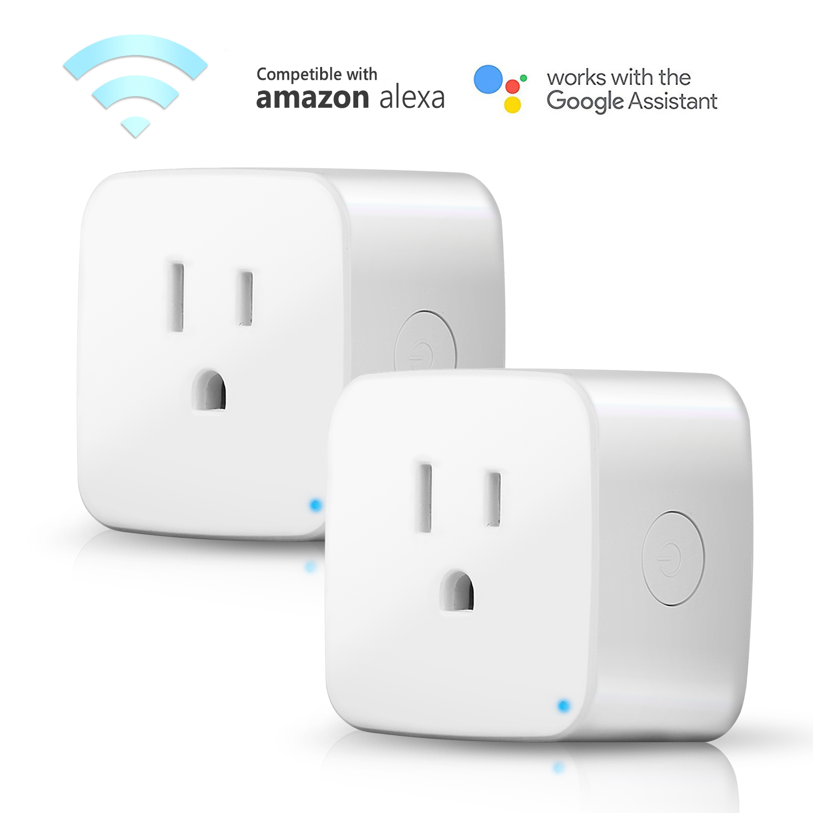 TSV 2Pack US Plug Mini WiFi Outlet Wall Power Switch Wireless Smart Plug For Smart Devices Control With SmartLife APP On Android IOS