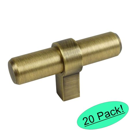 "Cosmas 181BAB Brushed Antique Brass Cabinet Bar Handle Pull Knob - 2-3/8"" Long - 20 Pack"