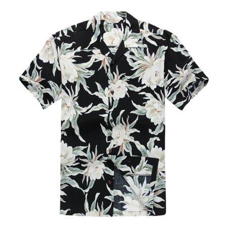 Mens Hawaiian Shirt Aloha Shirt 2Xl Waterlily Indigo