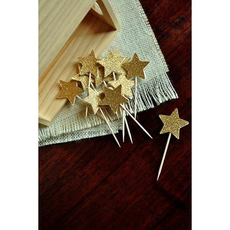 Pink And Gold Birthday Decorations   Ships In 1 3 Business Days   Glitter Gold Mini Star Cupcake Toppers 12Ct