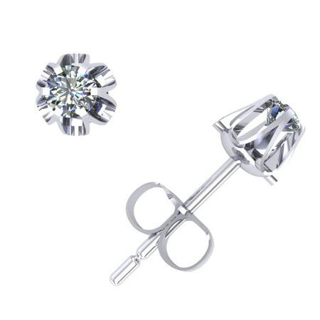 Si2 Earrings (0.25Carat Round Diamond Buttercup Stud Earrings 14Karat White Gold Prong H SI2)