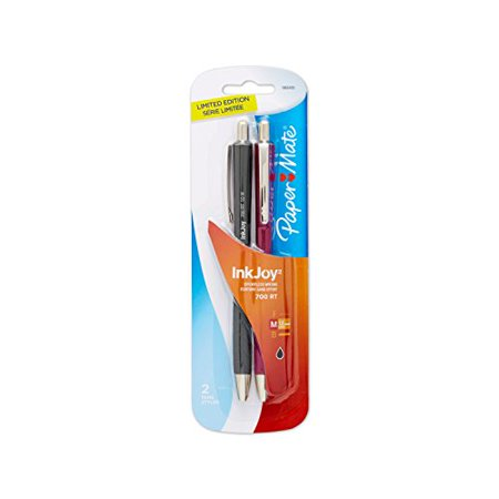 - Paper Mate InkJoy 700RT Retractable Ballpoint Pen, Medium Point, Fashion Barrel/Black Ink, 2-Pack (1862435)